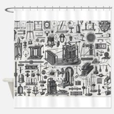 Vintage Physics plates Shower Curtain