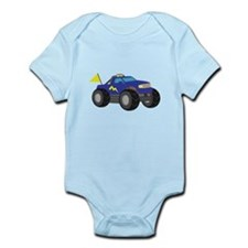 Cool Blue Monster Truck with Flag Body Suit