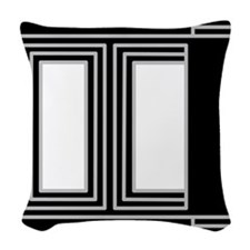 Black/Gray/White Squares #1 Woven Throw Pillow