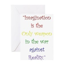 Imagination Against Reality Greeting Cards