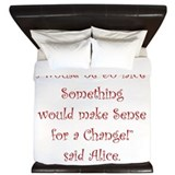 Alice in wonderland quotes King Duvet Covers