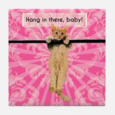 Hang In There Baby Kitten Tile Coaster