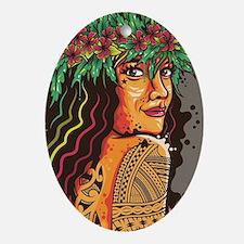 Tattooed Lady Oval Ornament