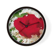 rote rose in weißen blüten Wall Clock