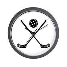 Crossed floorball sticks Wall Clock