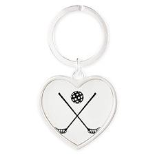 Crossed floorball sticks Heart Keychain