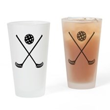 Crossed floorball sticks Drinking Glass