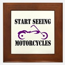 Cute Motorcycles Framed Tile