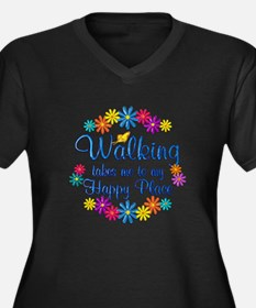 Walking Happ Women's Plus Size V-Neck Dark T-Shirt