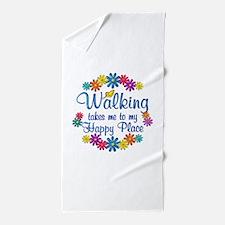 Walking Happy Place Beach Towel