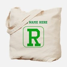 Custom Green Block Letter R Tote Bag