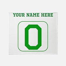 Custom Green Block Letter O Throw Blanket