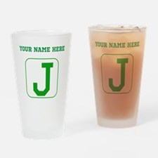 Custom Green Block Letter J Drinking Glass