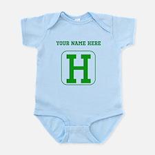 Custom Green Block Letter H Body Suit
