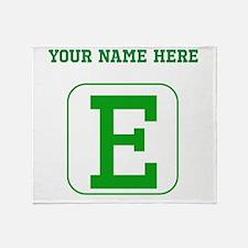 Custom Green Block Letter E Throw Blanket