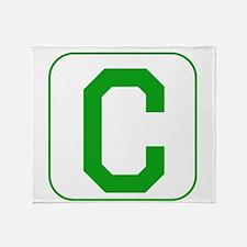 Green Block Letter C Throw Blanket