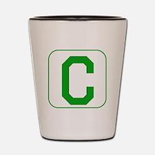 Green Block Letter C Shot Glass