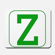 Green Block Letter Z Mousepad