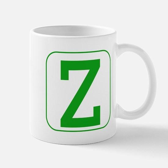 Green Block Letter Z Mugs