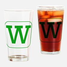 Green Block Letter W Drinking Glass