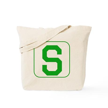 Green Block Letter S Tote Bag