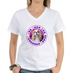 Sit Stay Wag Cavalier Style Women's V-Neck T-Shirt