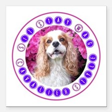 """Sit Stay Wag Cavalier St Square Car Magnet 3"""" x 3"""""""