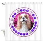 Sit Stay Wag Cavalier Style Shower Curtain