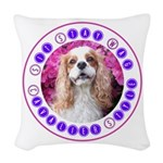 Sit Stay Wag Cavalier Style Woven Throw Pillow