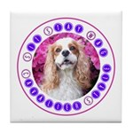 Sit Stay Wag Cavalier Style Tile Coaster