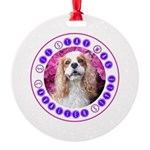 Sit Stay Wag Cavalier Style Round Ornament