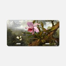 Cattleya Orchid, Two Hummin Aluminum License Plate