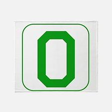 Green Block Letter O Throw Blanket