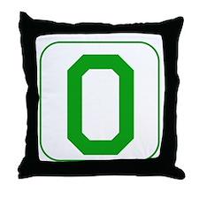 Green Block Letter O Throw Pillow