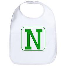 Green Block Letter N Bib