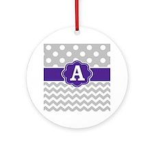 Gray Purple Dots Chevron Monogram Ornament (Round)