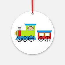 Monkey Driving a Train Ornament (Round)