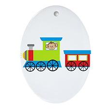 Monkey Driving a Train Ornament (Oval)