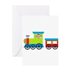 Monkey Driving a Train Greeting Cards