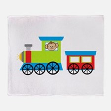 Monkey Driving a Train Throw Blanket
