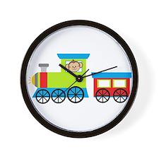 Monkey Driving a Train Wall Clock