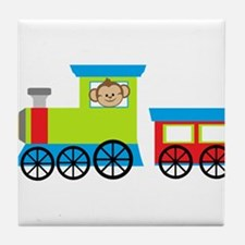 Monkey Driving a Train Tile Coaster