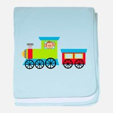Monkey Driving a Train baby blanket