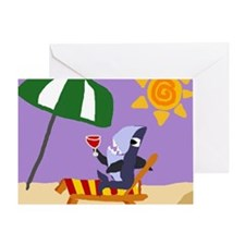 Shark Drinking Wine at Beach Greeting Card