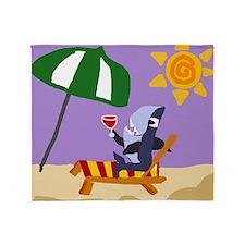 Shark Drinking Wine at Beach Throw Blanket