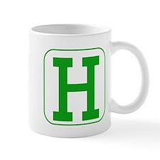 Green Block Letter H Mugs