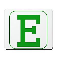 Green Block Letter E Mousepad