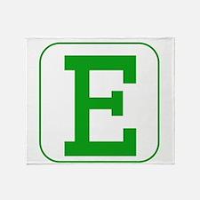 Green Block Letter E Throw Blanket