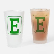 Green Block Letter E Drinking Glass