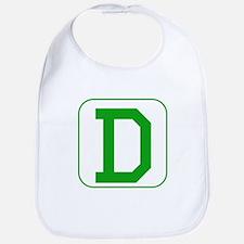 Green Block Letter D Bib
